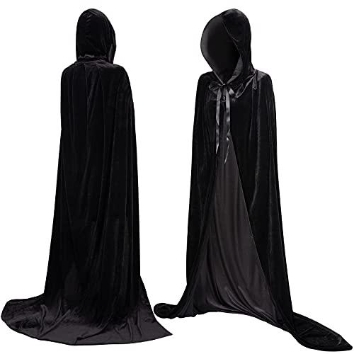 Myir JUN Largo Capa con Capucha Terciopelo, Unisex Adulto Nios Disfraz de Halloween Fiesta Disfraces Vampiro Traje (Negro, L)