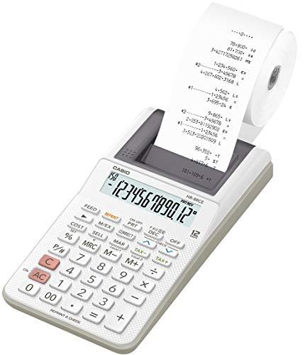 CASIO Druckender Tischrechner HR-8RCE, 12-stellig, Wiederholungsdruck, Cost/Sell/Margin, Profi-Prozentrechnung