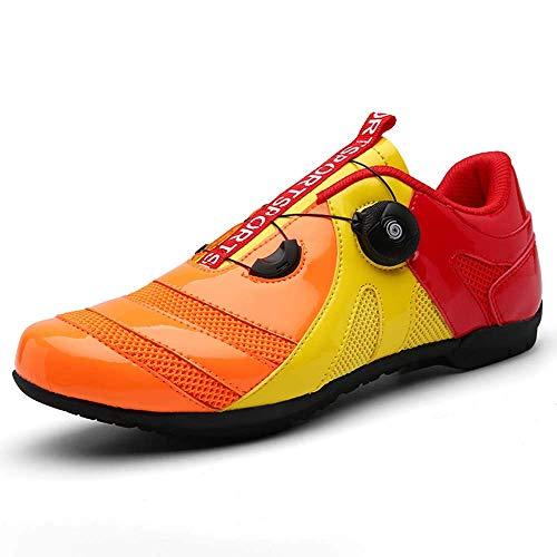 Scarpe da ciclismo con sistema di ventilazione antiscivolo per mountain bike, lacci per scarpe da ciclismo Arancione Size: 38 EU Estrecho