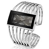 Fashion Cuff Bracelet Watches for Women Luxury Rectangular DialAnalog Quartz Wrist Watch Gifts for Ladies (Silver)