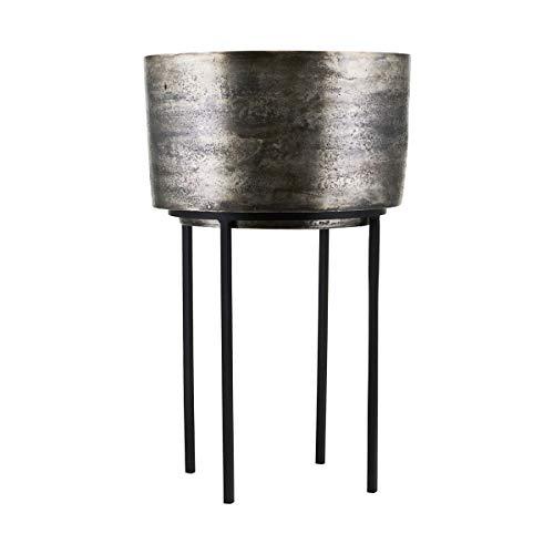 House Doctor Blumentopf, Kazi, Silber oxidiert, Dm: 33,5 cm, h: 54 cm, Kiefer, Glas, Silver Oxidized, 33.5 x 33.5 cm