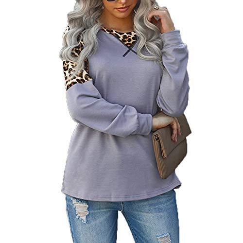 Herbst/Winter Damen Leopardenmuster NäHen Langarm Top Damen Plus Size Loose Round Neck T-Shirt