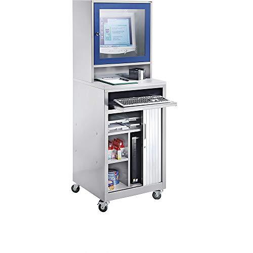 Computerschrank | Für Bildschirm bis 20″ | Fahrbar | Lichtgrau-Enzianblau | QUIPO - Computerschränke EDV-Schränke PC-Schränke Workstations PC-Stationen EDV-Arbeitsplätze Arbeitsstationen