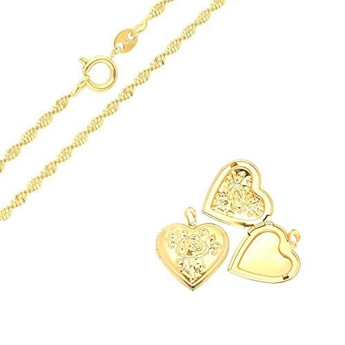 Cadena y colgante portafotos en forma de corazón rosa con relieve, oro amarillo 750 laminado*
