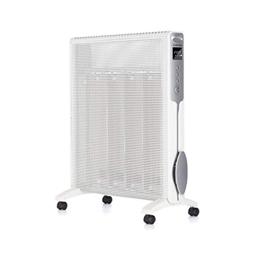 Klarstein Hot Spot Rolling Wave - Calefactor Vertical, 5-36°C, 4 Calentadores de Mica, Tecnologia AntiDryAir, Autoapagado, Pantalla LCD, 4 ruedas, Mando a distancia, Potencia de 1500-2500W, Blanco