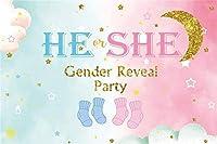 新しい5x3ft彼または彼女の背景性別披露パーティーの写真の背景青とピンクの空の雲の背景ベビーシャワーパーティーの装飾保育園の活動ベビールームの写真撮影の小道具デジタル壁紙