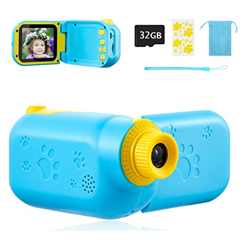 SUZIYO Kids Camcorder, Children Digital Video Camera, Portable Mini DV for Age 3-10 Years Old Boys Girls Birthday Gifts Toys, Toddlers Recorder HD 1080P 2.4 Inch with 32GB TF Card-Blue