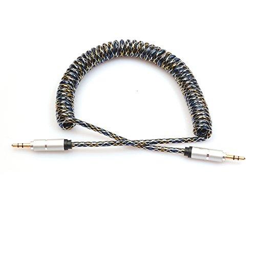 TONSEE 2M 3,5 MM Aux Audiokabel Stecker auf Stecker flach Teleskop Feder Kabel (silber)