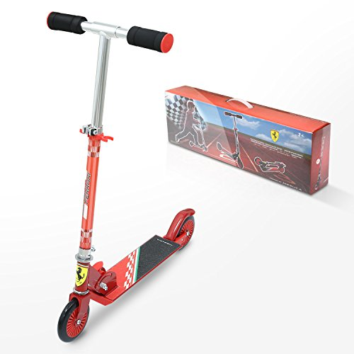 Ferrari Lizenzware Rot kinderroller Kid Scooter cityroller klappbar ab 3 bis 5 Jahre Alt Maxmal.50KG …