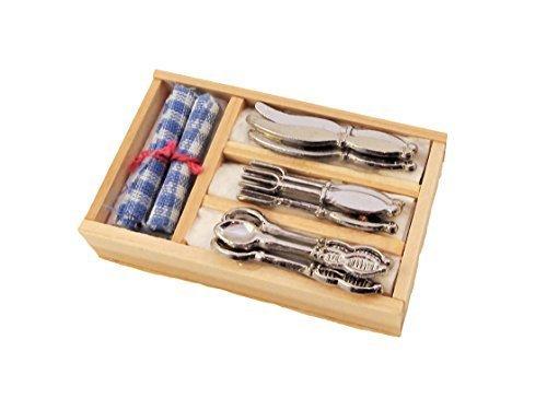 Melody Jane Casa delle Bambole Posate & Tovaglioli in Vassoio Cucina Sala da Pranzo Accessorio 1:12