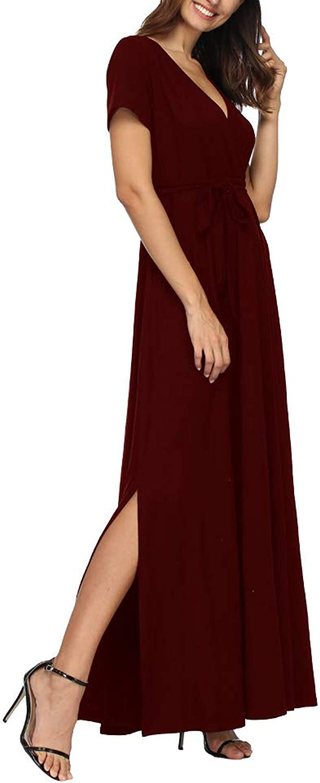Hioinieiy Womens Empire Waist Wrap Slit Maxi Dress Summer Short Sleeve V Neck Belted Long Dresses