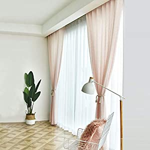 Crib Bedding And Baby Bedding Ruihong Semi Sheer Curtains Linen Textured Window Treatment Voile Curtain Panels For Bedroom Living Room Kitchen Nursery 1 Panels (Color : Pink, Size : 150270Cm)