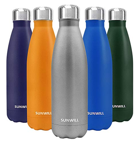 SUNWILL Insulated Stainless Steel Water Bottle Cool Grey, Vacuum Double Wall Sports Water Bottle 17oz, Cola Shape Travel Thermal Flask
