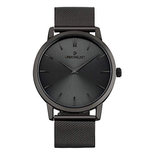 URBANHELDEN Armbanduhr Shine mit Mesharmband - Edelstahl Saphirglas Schweizer Quarzwerk 40 mm - Universal Damen u. Herren Uhr Metall Anthrazit