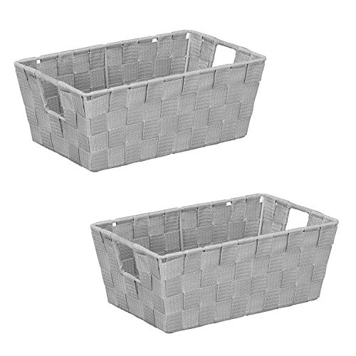 Simplify Tote, Decorative Bin, Good Small Large Items. Closet & Shelf Organizers Woven Storage Basket, 2 Pack, Grey