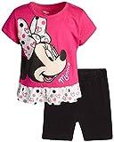 Disney Girls 2 Piece T-Shirt Knit Short Set: Minnie Mouse & Pooh Bear (Infant, Toddler, Little Girls) (Hot Pink Minnie with Ruffles, 12 Months)