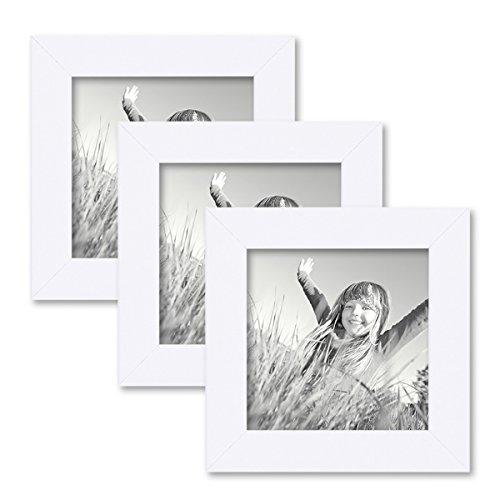 PHOTOLINI 3er Set Bilderrahmen 10x10 cm Weiss Modern aus MDF mit Glasscheibe und Zubehör/Fotorahmen