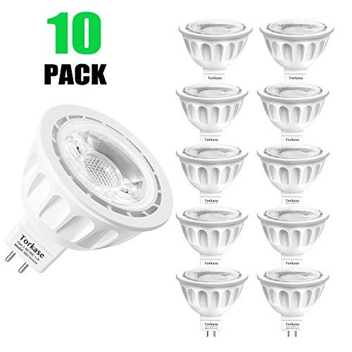 Torkase GU5.3 LED Lampe MR16, 5W (ersetzt 50W), Warmweiß(2700K), 12V, 36 Grad, 10er-Pack