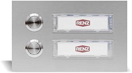 Edelstahl Türklingel für 2 Familien (145 x 90 mm), Haustürklingel mit austauschbaren Namensschildern, wasserdichte und UV beständige Klingel mit Silikonbefestigung - Edelstahl Türknopf - Klingelanlage
