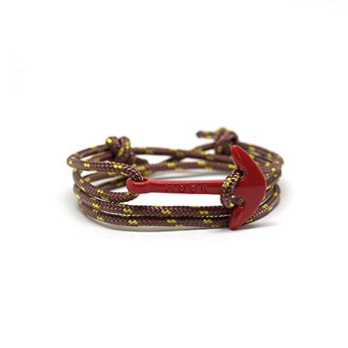 HOOK Pulsera Ancla Laredo Cordón Náutico Marrón Cierre Ancla de Acero Inoxidable para Hombre y Mujer - 1175 (Rojo)