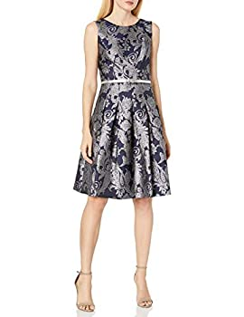 Tommy Hilfiger Women s Fit and Flare Dress Sky Captain/Silver 12