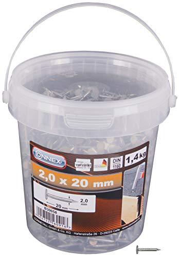 Connex Dachpappstifte 2,0 x 20 mm - 1400 g - Senkkopf - Verzinkt - Aufbewahrung in praktischem Eimer - Ideal für Dachpappe & Schiefernplatten / Breitkopfstifte / Dachpappennägel / Großpack / B30058