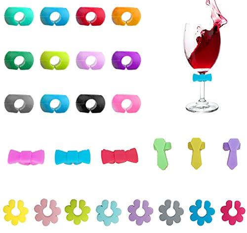 Hrbtag 26 Piezas Marcadores de Copas de Vino, Marcadores de Vidrio de Silicona Marcador de Copas Identificador de Vasos para Copa de Champán Copa de Cóctel Copa de Martini Copa de Bebida, 4 Estilos