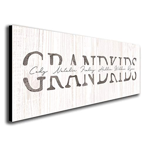 """GRANDKIDS - Personalized art gift for grandparents (Whitewashed Wood, 6.5""""x18"""" Block Mount)"""