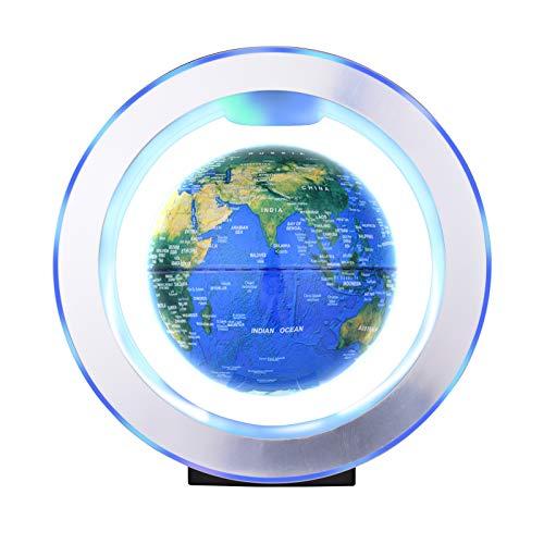 Aibecy Globo flotante de levitación magnética de 6 pulgadas Bola de tierra giratoria antigravedad Globo de mapa del mundo levitante con luz LED colorida y base en forma de O para regalo educativo