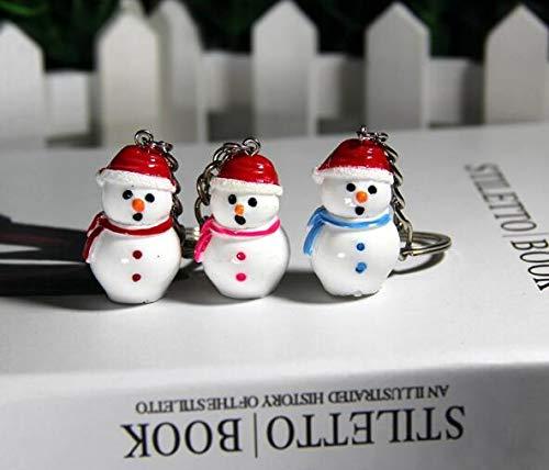 4 Stks Kerstmis Sneeuwman Sleutelhanger Hars Kerstmis Cartoon Sleutelhanger Handtas Handtas Hangende 3.3cm Willekeurig