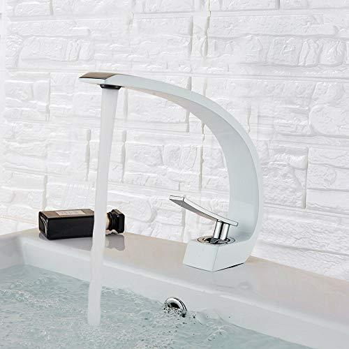 Onyzpily Wasserhahn Bad Waschbecken Waschtischarmatur Einhebelmischer Badarmatur Mischbatterie Waschbeckenarmatur Badzimmer Weiß+Chrom