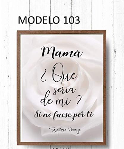 Cuadro decoración salón, moderno, personalizado para mamá. Elige tamaño, color del marco y modelo.