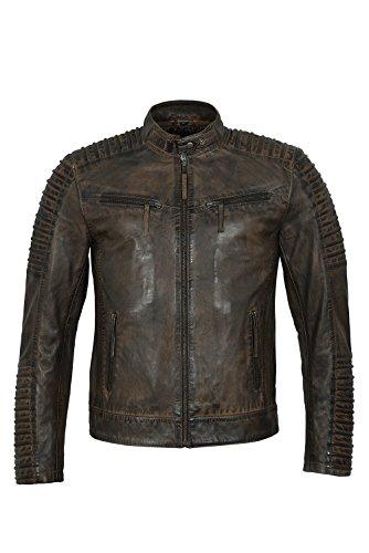 Chaqueta Acolchada de Cuero Reciclado del Estilo Motociclista de Russell Motour 4430 Dirty Brown Vintage