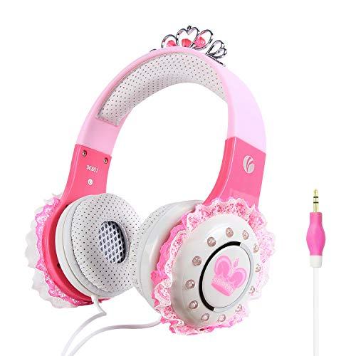 VCOM kinderhoofdtelefoons, over-ear prinses Stereo headsets Kindvriendelijke oortelefoon met beperkt volume, 3,5 mm aansluiting Compatibel voor iPad Kindle Fire Tablet Smartphones Laptop MP4 (roze)
