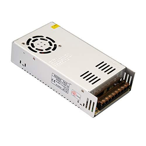 Redrex Alimentatore 24V 15A 360W Switching Regolato Universale Costruito con Ventola di Raffreddamento a Temperatura Controllata per TVCC, Radio, Progetto Computer, Stampante 3D, Driver LED