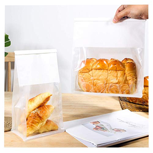 Bakery Bags with Window Kraft Paper Bags 25pcs 11x 8.5X 4.3 Inches Tin Tie Tab Lock Bags Brown Window Bags Cookie Bags, Coffee Bags,Bread Bags,Treat Bags, Popcorn Bags (White, 11x8.5x4.3 Inches)