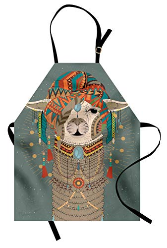 Viowr22iso Adjustable Bib Aprons, Llama Apron Colorful Headwear Wearing Llama with Accessories Earrings Necklace Abstract Animal Kitchen Cooking Aprons for Crafting BBQ Drawing, Gray Green