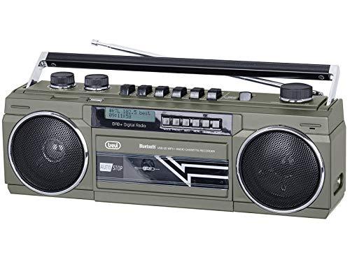 Trevi RR 511 DAB Radio Registratore con Ricevitore Digitale DAB, Mp3, UBS, Bluetooth, Funzione Full Recorder su Musicassette, Grigio
