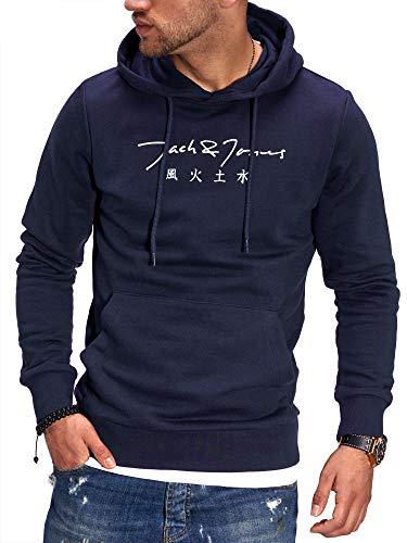 JACK & JONES Herren Hoodie Kapuzenpullover mit Print Sweatshirt Hoody Pullover (L, Total Eclipse)