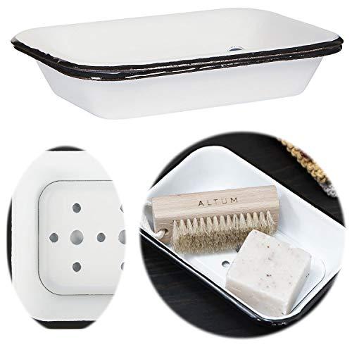 LS-LebenStil XL Seifenschale Emaille Creme Weiß 17cm Altum Seifenhalter Seifenablage