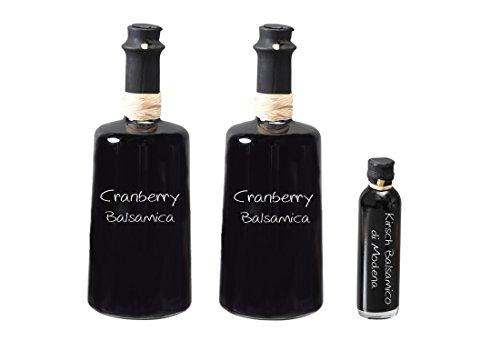 Wajos Cranberry Crema Balsamico 3 % Säure 2x250 ml I Sparset mit Oliv & Co. Kirsch Balsamico di Modena 40ml
