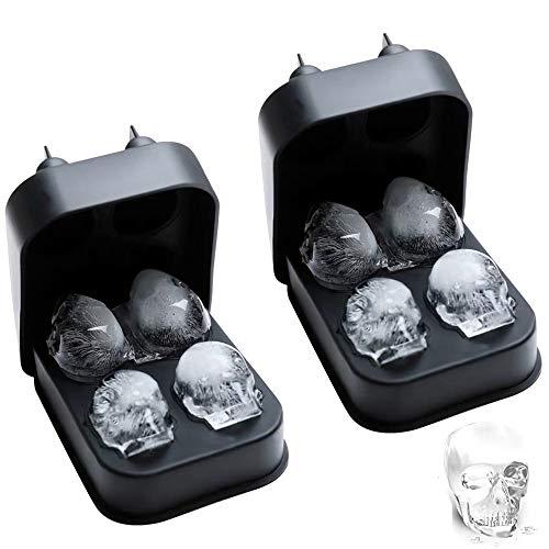 LEZED Molde de la Bandeja del Cubo de Hielo del Cráneo 3D de Silicona, Bandeja de Hielo con Molde de Calavera 3D, 3D Cubito de Hielo Calavera para, Whisky, Vodka, cócteles, Juego de 2