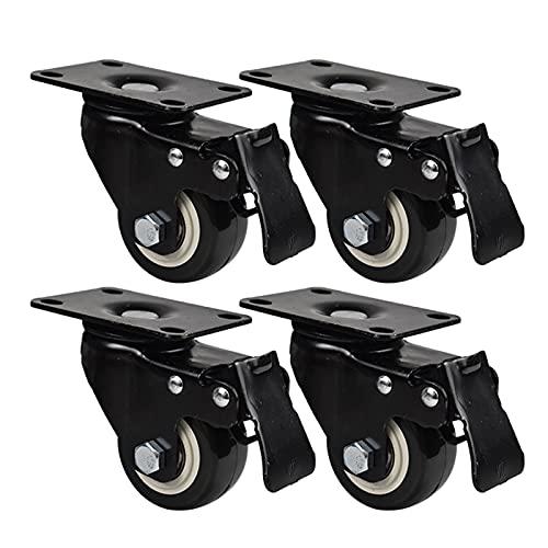 DNNHTGB 4 x 50mm Ruedas para Muebles Ruedas giratorias de Servicio Pesado Capacidad de Carga de 220 kg Rueda de Goma PU con Freno Ruedas Pivotantes para Carrito Muebles