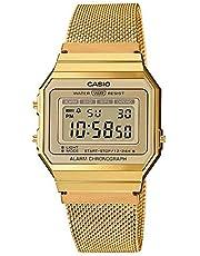 Casio Reloj Mujer de Digital con Correa en Acero Inoxidable A700WEMG-9AEF