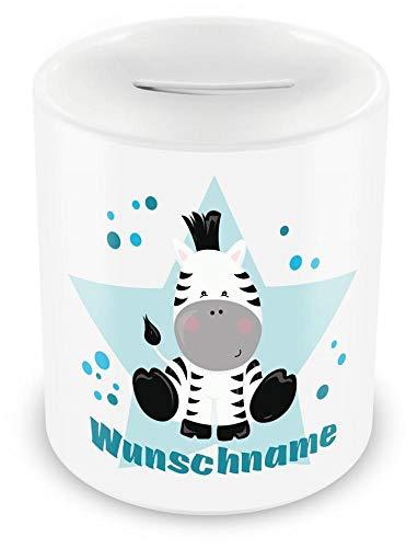 Samunshi® Kinder Spardose mit Namen und Zebra als Motiv für Kinder - Jungen und Mädchen Sparschwein weiß