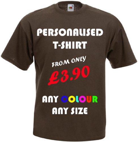 Camisetas con estampado personalizado (parte delantera y trasera). ¡Personalízalas tú mismo!Ideal para regalo. Marrón chocolate Medium