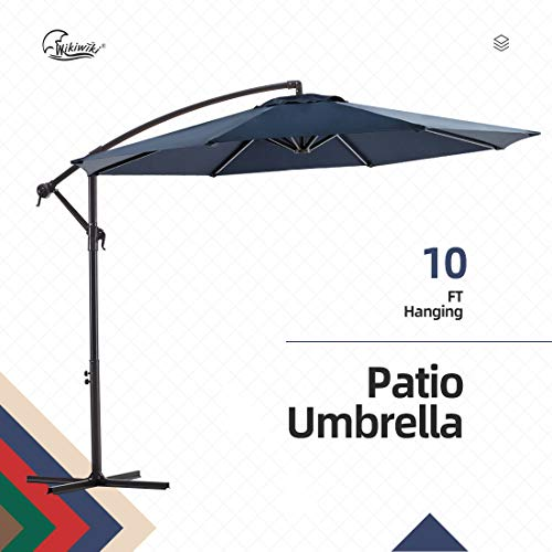 wikiwiki Offset Umbrella 10ft Cantilever Patio Umbrella Hanging Market Umbrella Outdoor Umbrellas with Crank & Cross Base(Navy Blue)