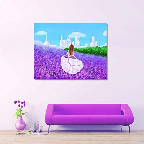 Diamant-schilderij, 5D, knutselen, volledige diamant, vierkant, lavendel, meisjes, 60 x 48 cm, voor volwassenen, schildersset, geschikt voor wanddecoratie van het huis