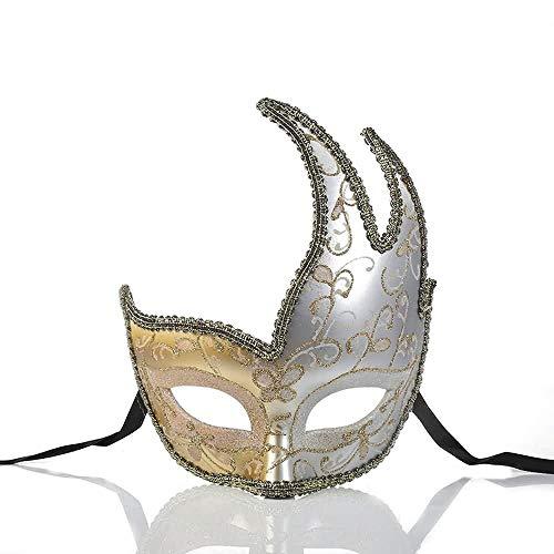 Mscara Masquerade Masquerade Mscara Veneciana for Fiesta Halloween Fancy Dress Cosplay#37 (Color : White, Tamao : One Size)