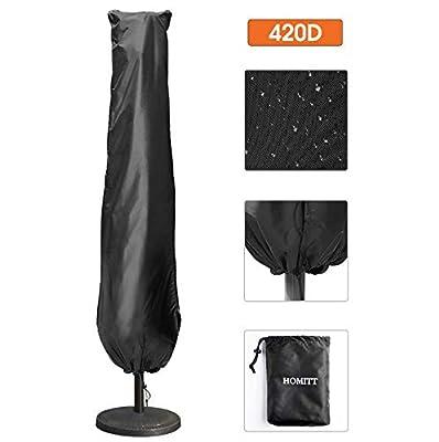 Umbrella Covers, for 9-13ft Patio Umbrella Parasol 420D Waterproof Offset Cantilever Cover with Zipper Outdoor Patio & Market Umbrellas,Large, Black